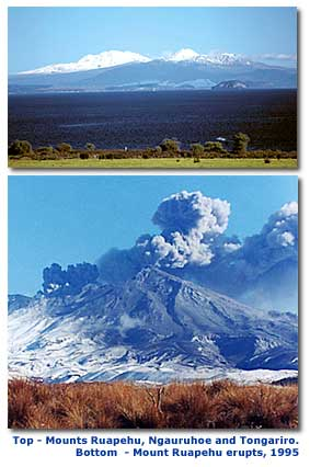 Photographs of Mount Ruapehu on a clear day, and during an eruption